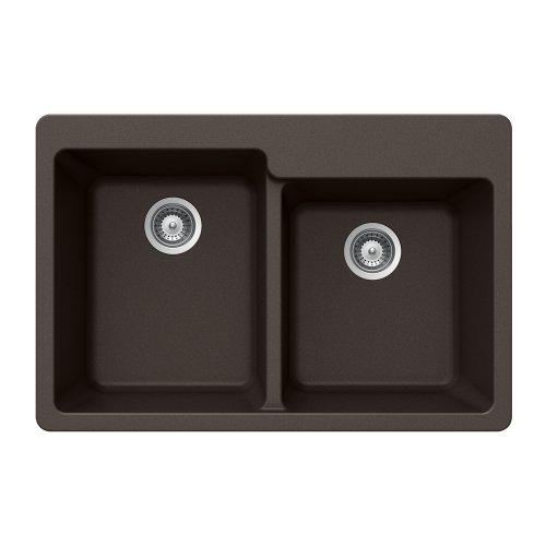 Houzer M-175 MOCHA Quartztone Series Granite Top Mount 60/40 Double Bowl Kitchen Sink, Mocha