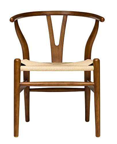 Ash Walnut Chair - Hans Wegner Wishbone Style Woven Seat Chair (Walnut with Natural Cord)