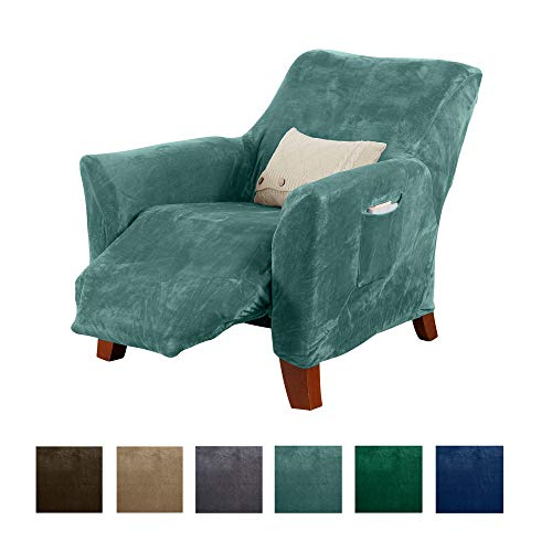 Great Bay Home Form Fit, Slip Resistant, Stylish Furniture Shield/Protector Featuring Velvet Plush Fabric Magnolia Collection Strapless Slipcover (Recliner, Aqua)
