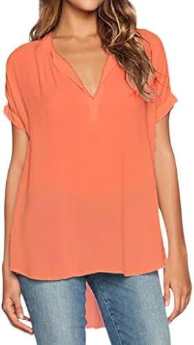 Dokotoo Womens Summer Casual Short Sleeve Chiffon Blouse Shirt Tops?S-XXL)