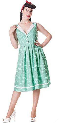 Hell Bunny Damen Kleid Karen Polka Dots Retrokleid Mintfarben mit weißen Punkten IeLSK
