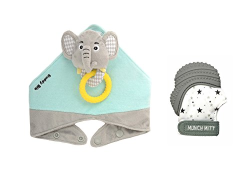 Munch Mitt the Original Mom Invented Teething Toy and 3 in 1 Buddy Bib- Self-Soothing Entertainment & Pain Relief for Baby- Ideal Baby Shower Gift- Mitt & Bib Combo Pack (Eli Elephant/Grey Stars) from Munch Mitt