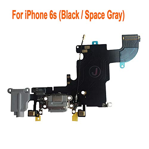 Johncase Charging Port Dock Connector Flex Cable w/Microphone + Headphone Audio Jack Port Ribbon Replacement Part Compatible iPhone 6s 4.7 All Carriers (Black/Space Gray)