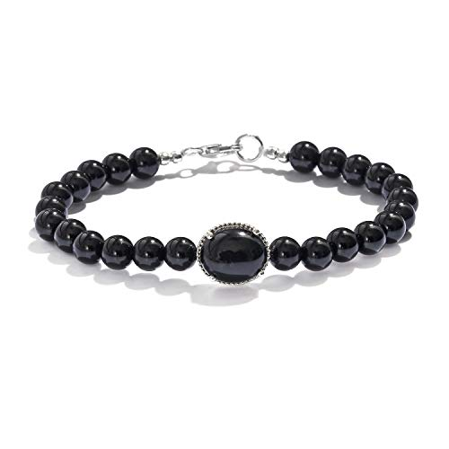 925 Sterling Silver Black Onyx Quartzite Round Bead Strand Bracelet for Women Gift Jewelry 7.25
