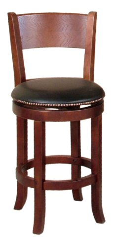 24-Inch Swivel Barstool with Back, Cappuccino Finish ()