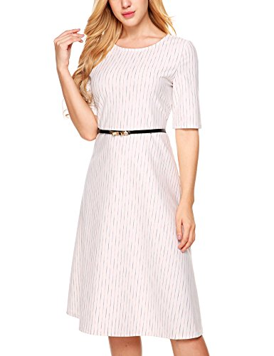 White Hepburn and A With Belt ANGVNS Fit Office Line Dress Audrey Cocktail Flare Party wTOfRqC