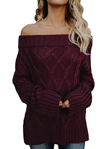 Women's Long Sleeve Off Shoulder Casual Loose Knit Pullover Sweaters Large 12 14 Wine by Astylish
