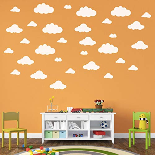 31pcs DIY Large Clouds Wall Decals Children's Room Home Decoration Art Halloween (White, A)