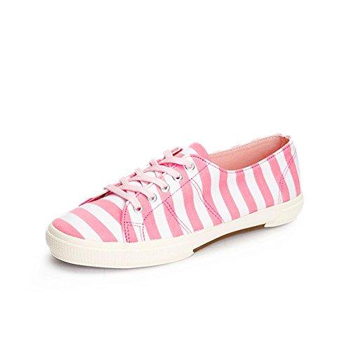 NSX de las mujeres top del punto bajo de fondo plano con cordones de las rayas de la lona ocasional atlética patín de las zapatillas de deporte , pink , 35
