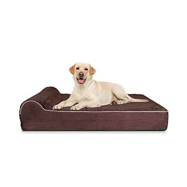 7″ Thick High Grade Orthopedic Memory Foam Dog Bed with Pillow & Easy To Wash Removable Cover with Anti-Slip Bottom. Free Waterproof Liner Included – Jumbo X-Large for Large Dogs – Brown