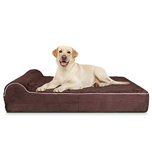 JUMBO XL Size Memory Foam Orthopedic Dog Bed - HeadRest Collection - INCLUDES Waterproof Liner and Removable, Easy to Clean Suede Cover with Anti Slip Bottom - Brown