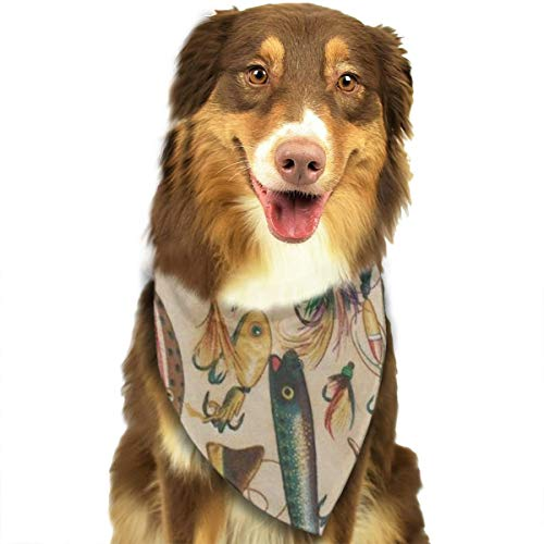 NOWDIDA Dog Bandana Fishing Lure Style Pet Triangle Scarf Festive Accessory for Puppies -