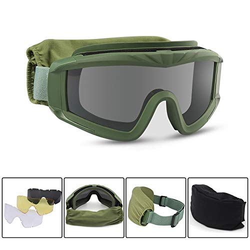 Freehawk Military Tactical Goggles Airsoft Safety Goggles Motorcycle Goggles with 3 Interchangeable Multi Lens for Shooting/Paintbal/Hiking/Skiing/Riding (Army Green)