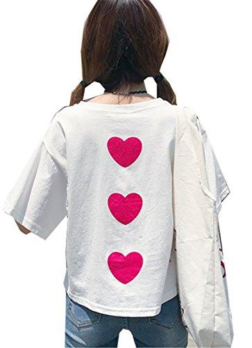 彼の出口最も早いYINUO レディース Tシャツ 夏 丸首 半袖 森ガール 可愛い カジュアル 通学 きれいめ 甘め 大きなサイズ 上着