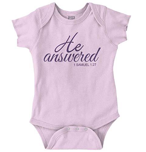He Answered Prayers Newborn Christian Bible Romper Bodysuit Pink ()