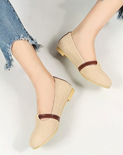 Aisun Mujeres Comfort Casual Hebilla Correa Conducción Coches Low Cut Punta Redonda Ballet Slip On Flats Zapatos Beige
