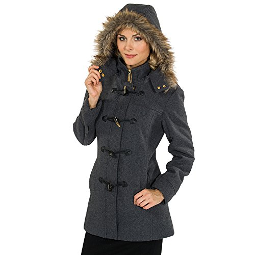 Alpine Swiss Duffy Women's Gray Wool Coat Fur Trim Hooded Parka Jacket Medium Fur Toggle Coat