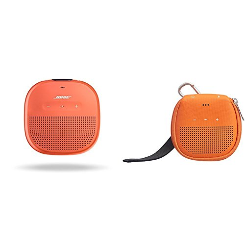 Bose SoundLink Micro Waterproof Bluetooth speaker (Bright Orange) with AmazonBasics Case (Orange)