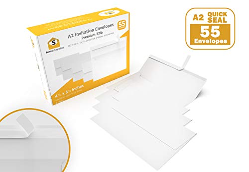 x 5 ¾ Envelopes - for Wedding Invites, RSVP, Greeting Cards, Photo Storage Mailing, Quarter Folded 8.5x11 Paper, 5.5 x 4 Inserts - W/Peel, Press & Self Seal (55 Pack, White) ()