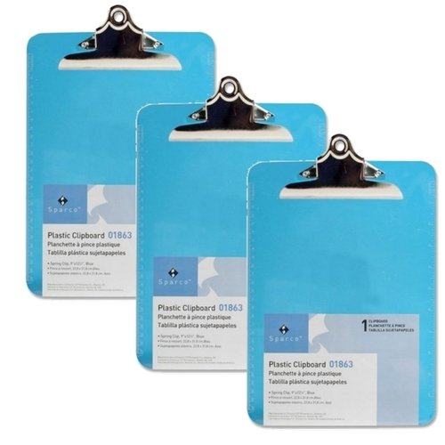 Sparco Transparent Plastic Clipboard, 9 x 12-1/2 Inches, Blue SPR01863 (3 Pack) by Sparco