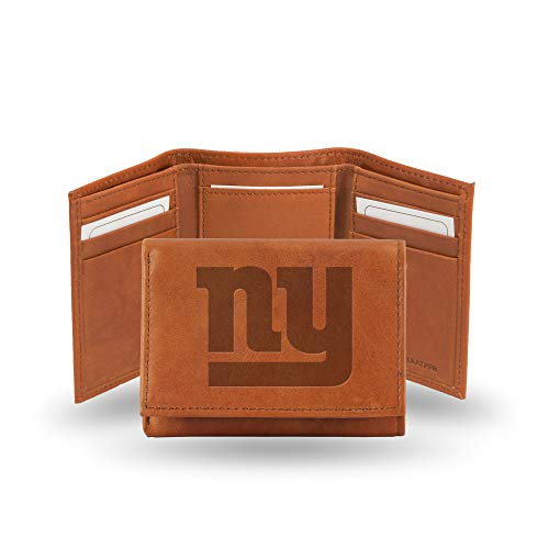 NFL New York Giants Embossed Leather Trifold Wallet, Tan