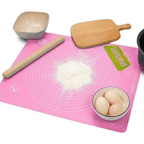 ZLR Silicone Pastry Mat for Rolling Dough No stick Non Slip Reusable Rolling Mat for Baking Heat Resistant Microwave & Dishwasher Safe Large 19.7