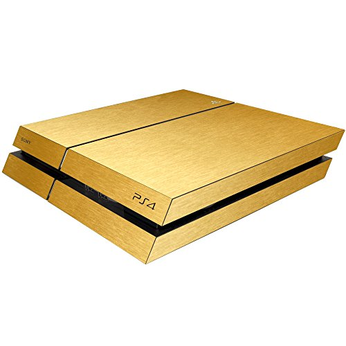 Gold Brushed Metal Skin for PlayStation 4 PS4 (Original Model) - Decal Sticker Wrap Set - Console & 2 Controller Skins - by SKINTZ
