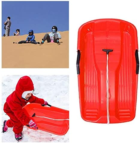 Snow Sled Two-Rider Downhill Outdoor, High Performance Toboggan for Kids and Adults Durable Sledge Slider with Pull Rope for Winter Sledding