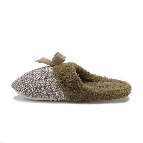 Mujeres 1343a Slip On Faux Fur Zapatillas De Casa De Interior Zapatillas Mocasines Tan
