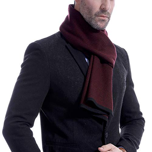 Runtlly Mens Cashmere Scarf Warm - Wool Scarves for Fall & Winter LS0148-3 LightBlue Black by Runtlly (Image #2)