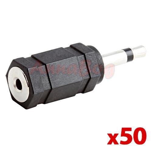 - 50x Audio Connector 3.5mm Mono Plug to 2.5mm Stereo Jack Adapter Lot Pack