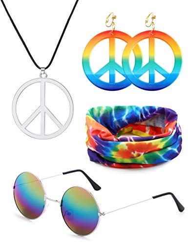VALIJINA Hippie Costume Set Hippie Sunglasses Peace Sign Pendant Tie Dye Headband Bandana Peace Sign Earrings 60s or 70s Hippie Accessories]()