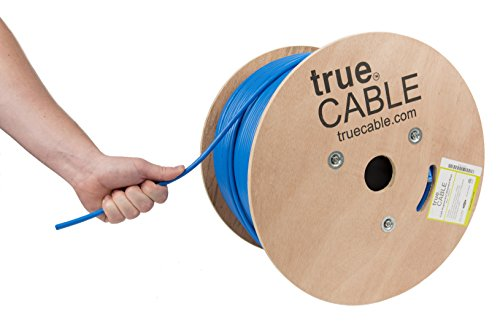 Cat6A Shielded Riser (CMR), 1000ft, Blue, 23AWG Solid Bare Copper, 750MHz, ETL Listed, Overall Foil Shield (FTP), Bulk Ethernet Cable, trueCABLE ()