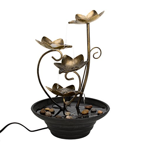Flower Fall Fountain - Diensday Indoor Tabletop Fountain Decor Home Light Relaxation Cascading Rock Pump Waterfall Fountains Zen Small Desk New(14.0