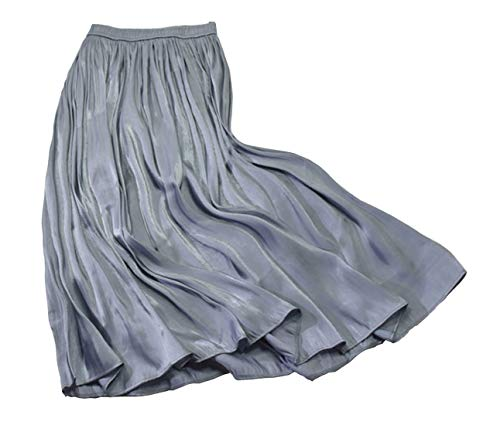 Chartou Womens Silky Lustrous Elastic Waist Pleated Accordion Midi Long Skirts (Free Size, Blue Grey)