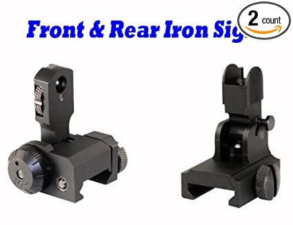 223/5 56 AR Front & Rear Iron Sight w/Push Button & 4 Aperature A2 AR15/M16