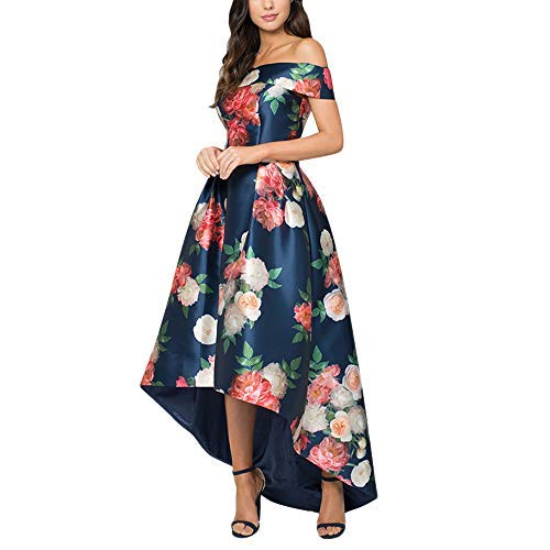 Jessica CC Women's Bodice High Low Evening Party Gown Off Shoulder Floral Maxi Long Dress S-L (Small, Navy)