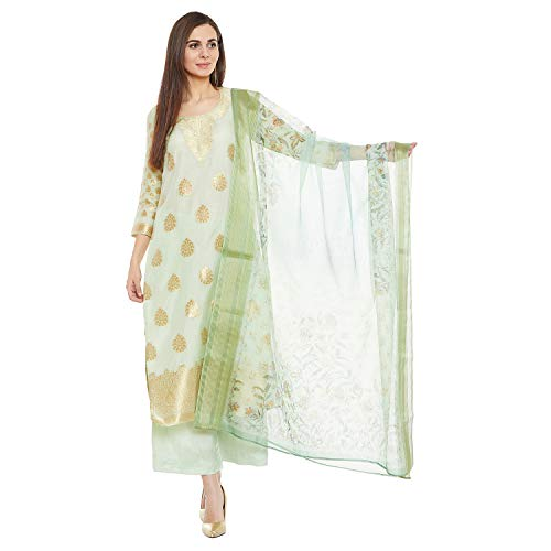 PinkShink Women's Readymade Green Banarasi Silk Green Indian/Pakistani Salwar Kameez - Suit Churidar