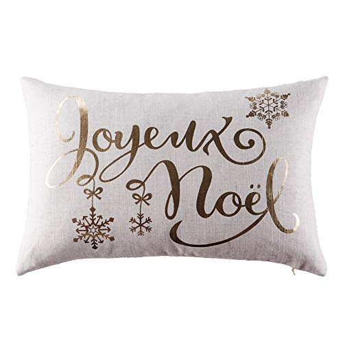 JWH Christmas Gold Foil Accent Pillow Case Decorative Cushion Cover Linen Pillowcase Home Bed Living Room Gift 12 x 18 Inch Jingle Bell