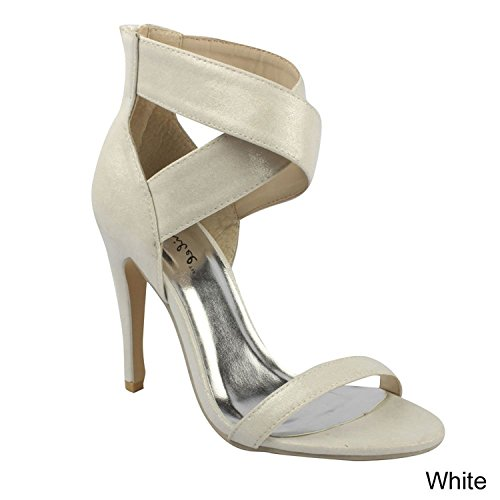 Bonnibel Lupid-3 Dames Kris-kras Band Terug Rits Stiletto Jurk Sandalen, Wit