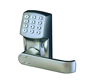 electronic keyless door lock set satin. Black Bedroom Furniture Sets. Home Design Ideas