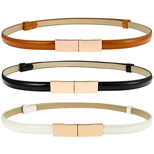 BKpearl 3 pcs Skinny Waist Belt, Women Adjustable Skinny Leather Dress Belt Waistband With Gold Alloy Buckle