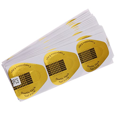 Generic 100pcs Nail Art Tips Form Guide Sticker Extension Polish DIY Stencil Tools – yellow