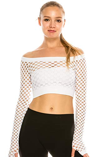Kurve Women's Sexy Fishnet Top - Stretchy See Through Long Sleeve Layer Mesh Shirt Crop Top Party Clubwear Cover Up White