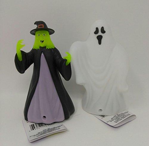White Witch Costume Homemade (Halloween Fall Spooky Creepy Haunted House Kids Teen Toddlers LED LIGHT UP LAUGHING SOUNDS Ghost & Witch Bundled 6 inches)