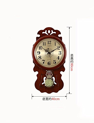 SUNQIAN-Chinese Chinese style living room decorative hanging wood wall clock, clock, clock mute, creative atmosphere of luxury watches hung wood,A by SUNQIAN