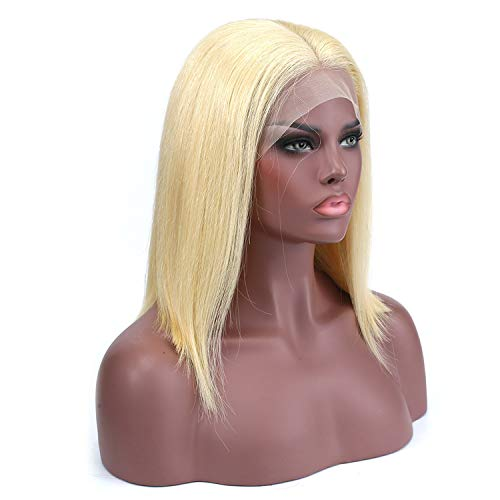 dtjndrgsefd wigs for women 613 blonde Lace Front Wigs Natural Straight Brazilian Human Short Bob Wig Lace Frontal Wigs,#613,14inches,150%]()