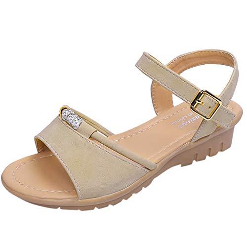 - Toimothcn Girls Beach Sandals, Women's Cute Open Toes One Band Ankle Strap Flexible Summer Flat Sandals (Beige,US:6.5)