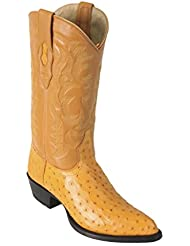 Mens J-Toe Genuine Leather Ostrich Skin Western Boots