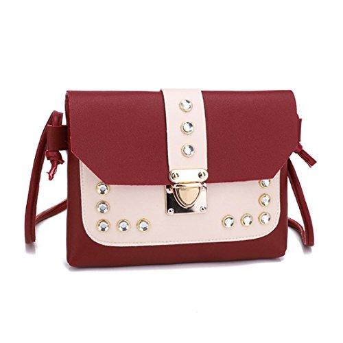 Fashion Muium Women Bag Bags Metal Messenger Color Tote Rhinestone Bag Shoulder Buckle Satchel Red Crossbody Hit HdqqwxBS